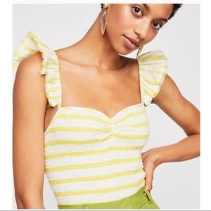 Free People   NWT Striped Hyde Smocked Crop Top